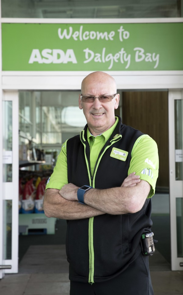 Andy  outside the Dalgety Bay store