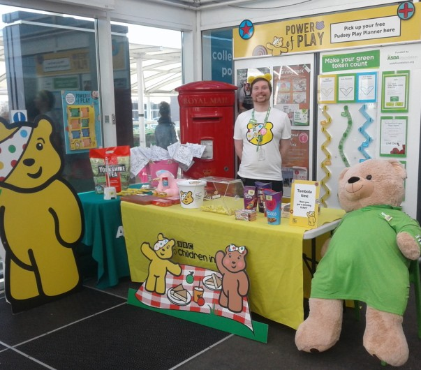 Asda Tunstall community champion Damon supporting BBC Children in Need