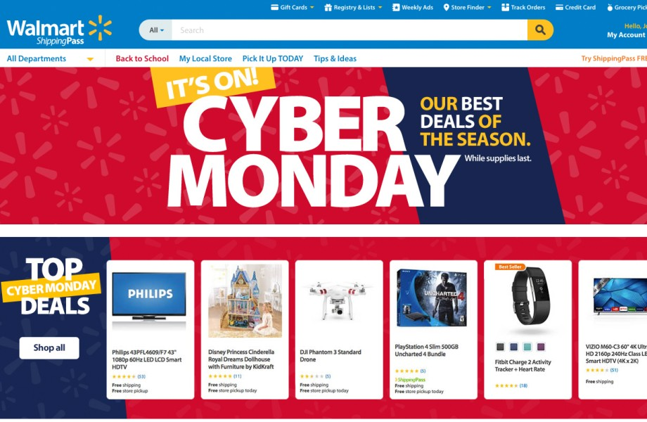 Cyber Monday Walmart.com landing page