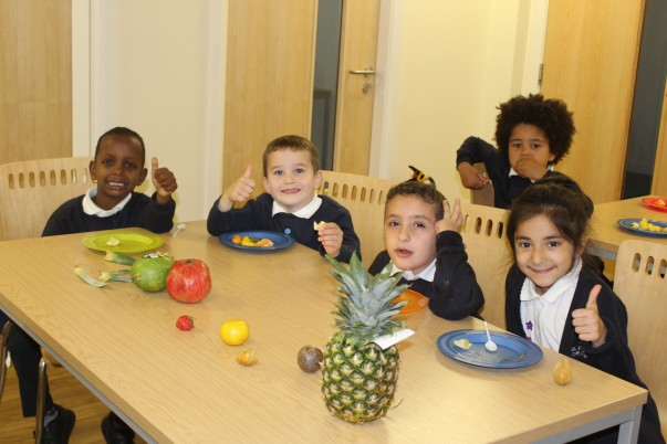 Christine Baldwin from Asda Bolton showing pupils at St Matthew's Primary School about healthy eating