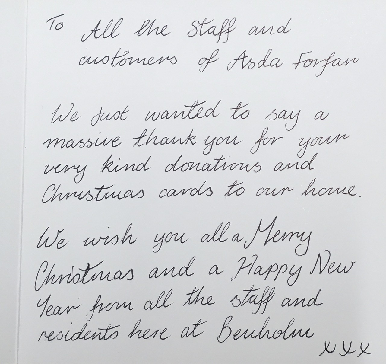 A Thank You from Benholm Care Home | Asda Forfar
