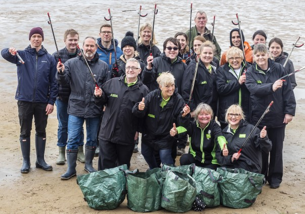 Asda colleagues help to clean West Kirby beach