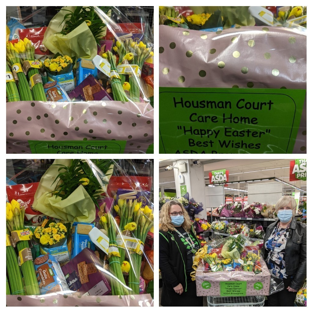 Easter Hampers donated to two local care homes, Wayside Care Home and Housman Court also a donation to our local Basement Project for young people aged 16-25yrs. Happy Easter from us all a | Asda Bromsgrove