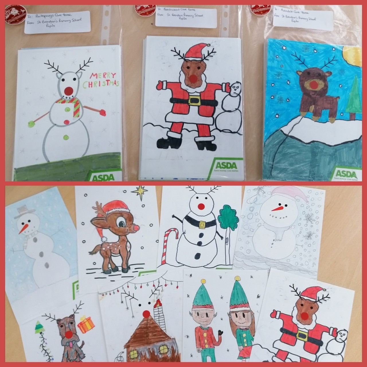 Primary school pupils decorate Christmas cards for local care home residents | Asda Motherwell
