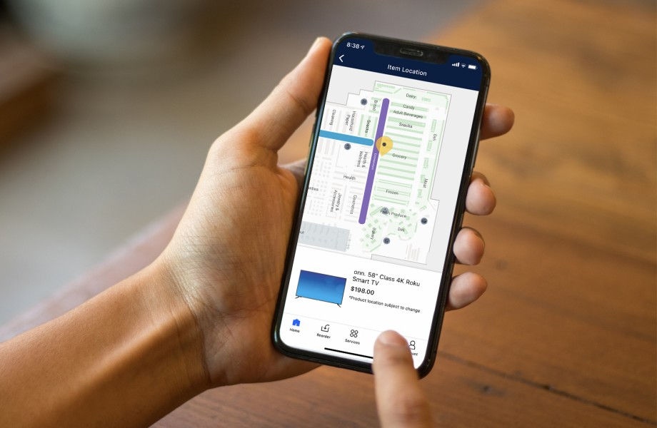 A customer uses the store maps feature in the Walmart app to plan their Black Friday trip