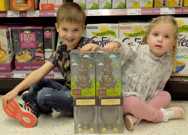 George and Isabella with the Free From Choc Easter Bunnies at Asda Stockton