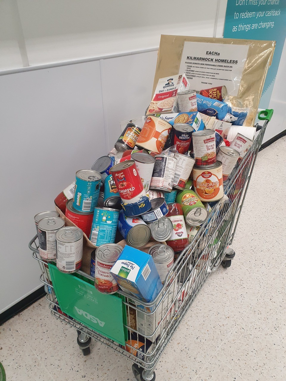 Customer donations for homeless | Asda Kilmarnock