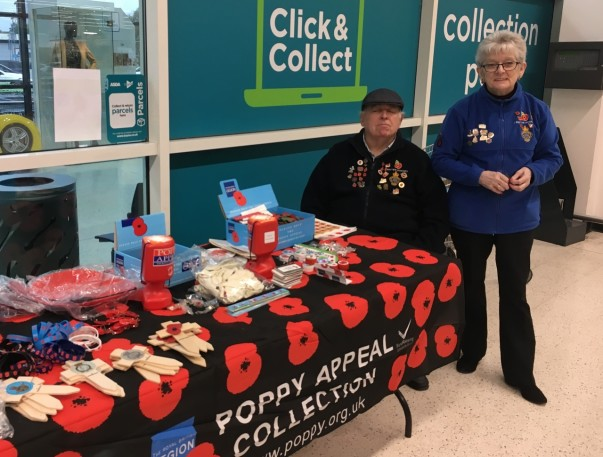 Poppy Appeal collector Sandra has been raising funds for Royal British Legion at Asda Harlow for nine years