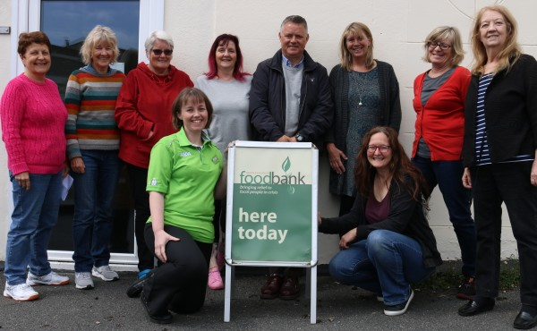Asda Falmouth community champion with volunteers at Penryn and Falmouth food bank
