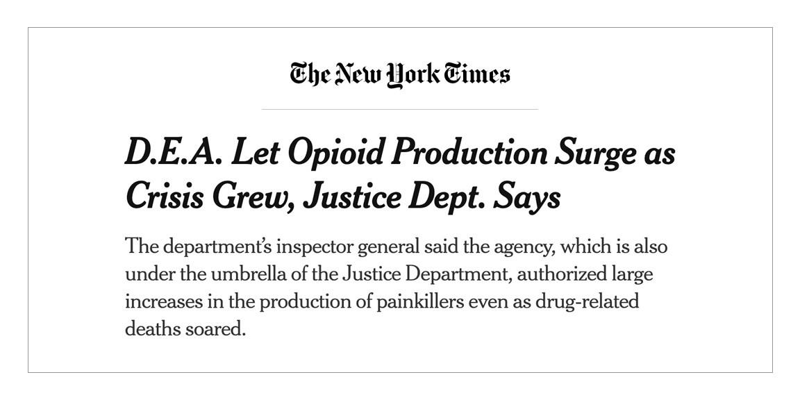 D.E.A. Let Opioid Production Surge as Crisis Grew, Justice Dept. Says