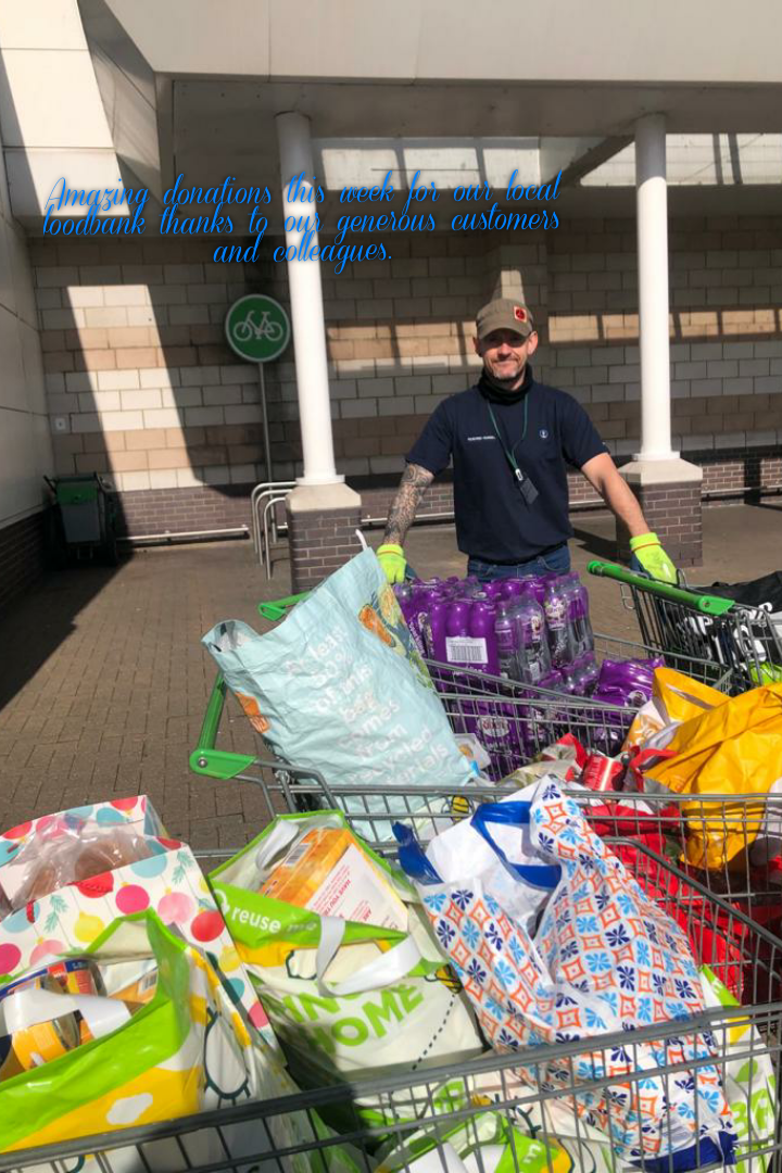 Volunteer from our local foodbank collecting 4 trollies of donations from our generous customers and colleagues 😊 | Asda Hartlepool