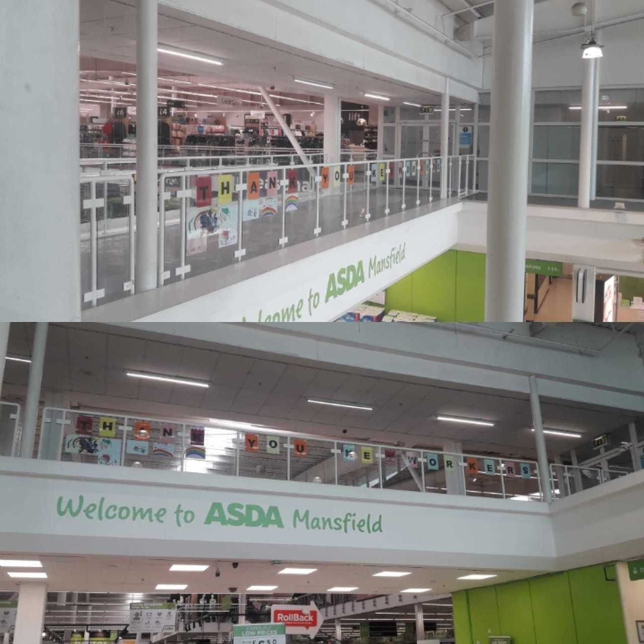 Our rainbow bridge in store to thank keyworkers for doing an amazing job. We are receiving pictures everyday so hopefully we will fill the whole bridge | Asda Mansfield