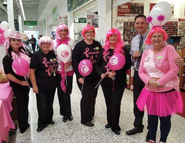 Breast cancer survivor Susan Grant from Asda Longwell Green backs the Asda Tickled Pink campaign