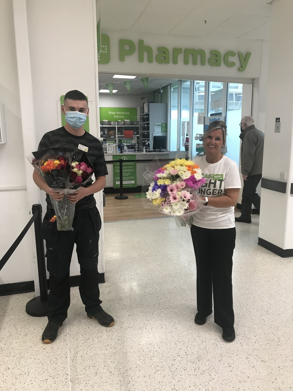 Donating flowers to Marie Curie Hospice. | Asda Robroyston