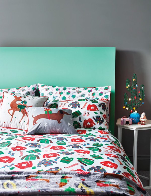 Christmas bedding - sausage dog cushions