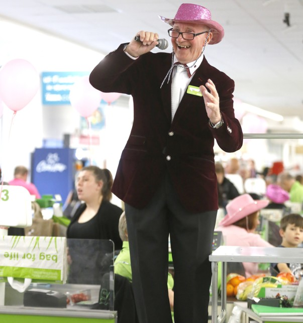 Sid sings for Tickled Pink at Asda Bexleyheath