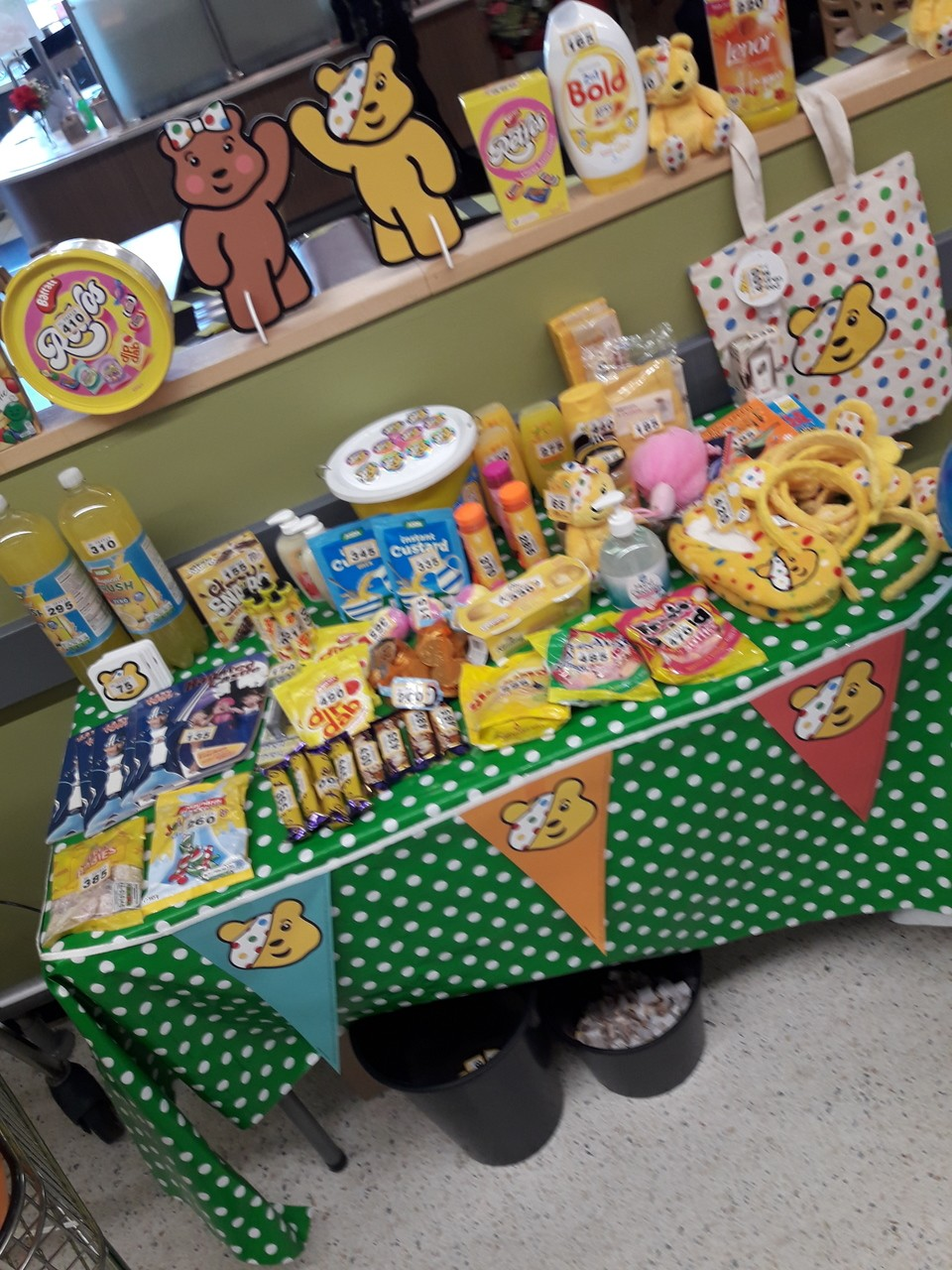 Children In NeedSocial distance tombola in Asda Llandudno today to raise funds for Children In Need | Asda Llandudno