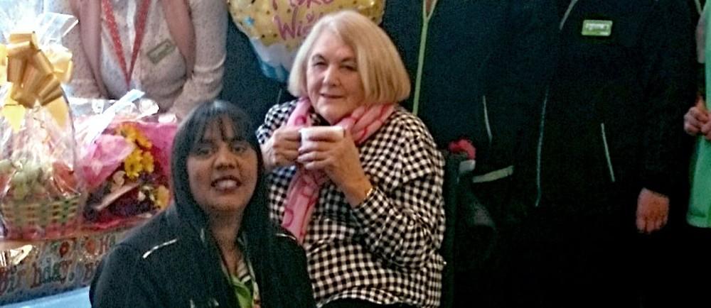 Asda Hayes colleagues wish customer Coral a happy birthday