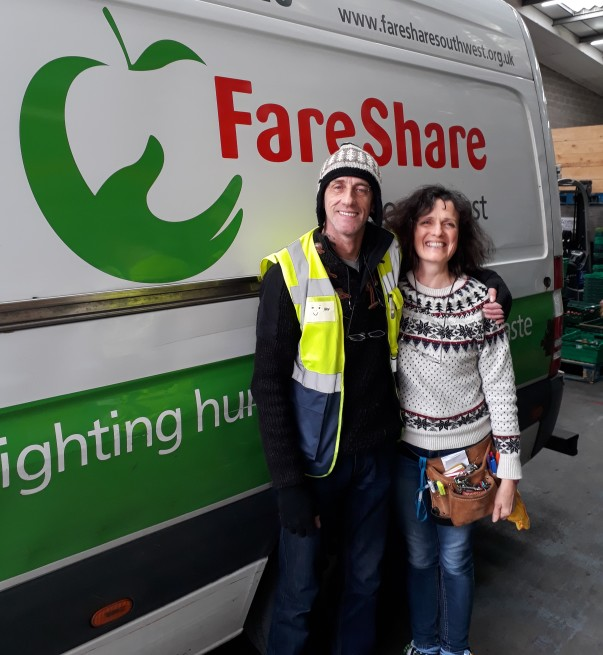 Polly from Bristol charity One25 collecting food for the charity from FareShare