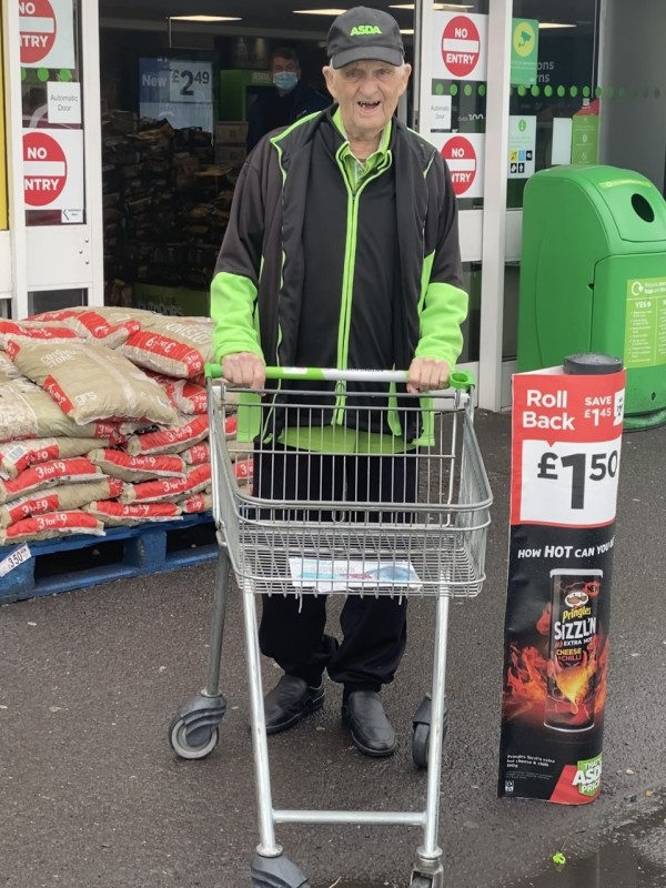 Ron Withers, 90, from Asda Gosport is one of the UK's oldest supermarket workers