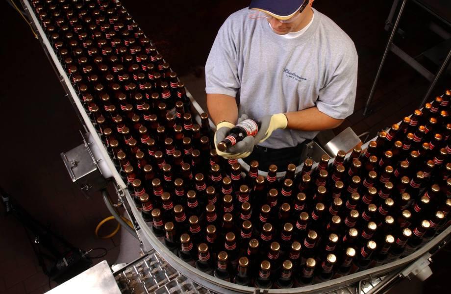 An Anheuser-Busch employee inspects a Budweiser beer