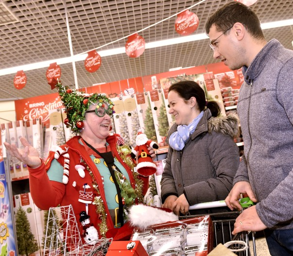 Neilann Robinson at Asda Carlisle loves transforming herself into Mrs Christmas