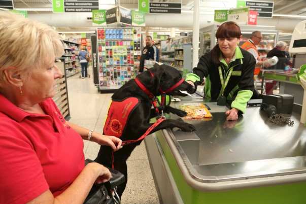Assistance dog Paddy helps owner Jill with weekly shop at our Golborne store