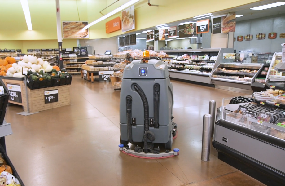 The Auto-C Autonomous Floor Cleaner working in store