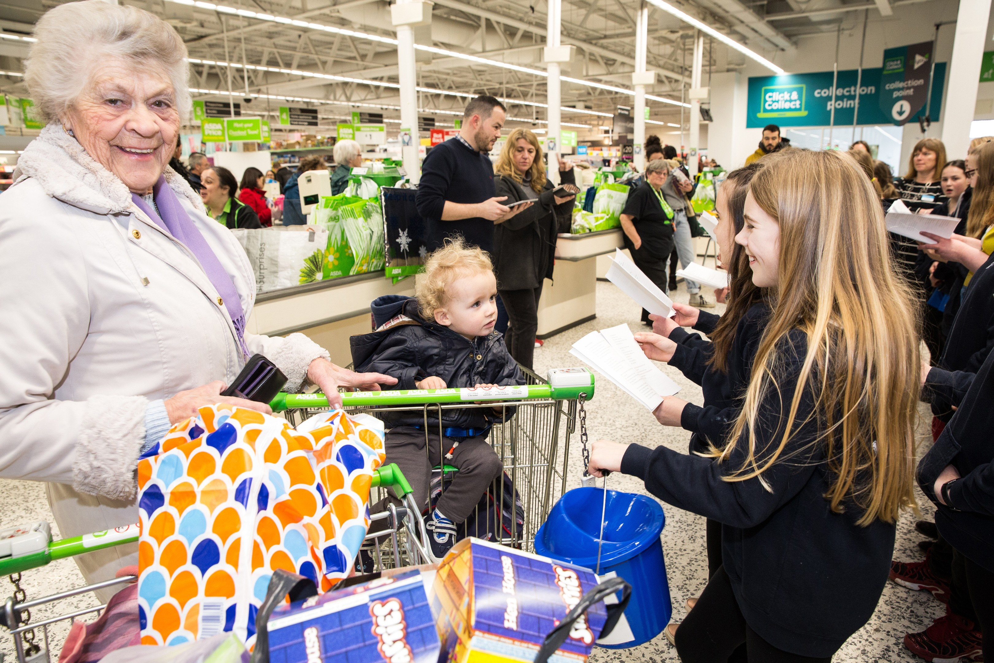 Customers enjoying the 30th birthday celebrations at Asda Bedminster