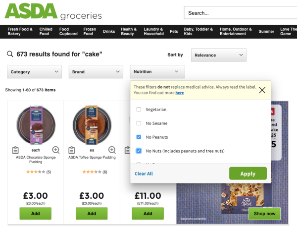 Asda's website now features nutritional filters for people with allergies and dietary requirements