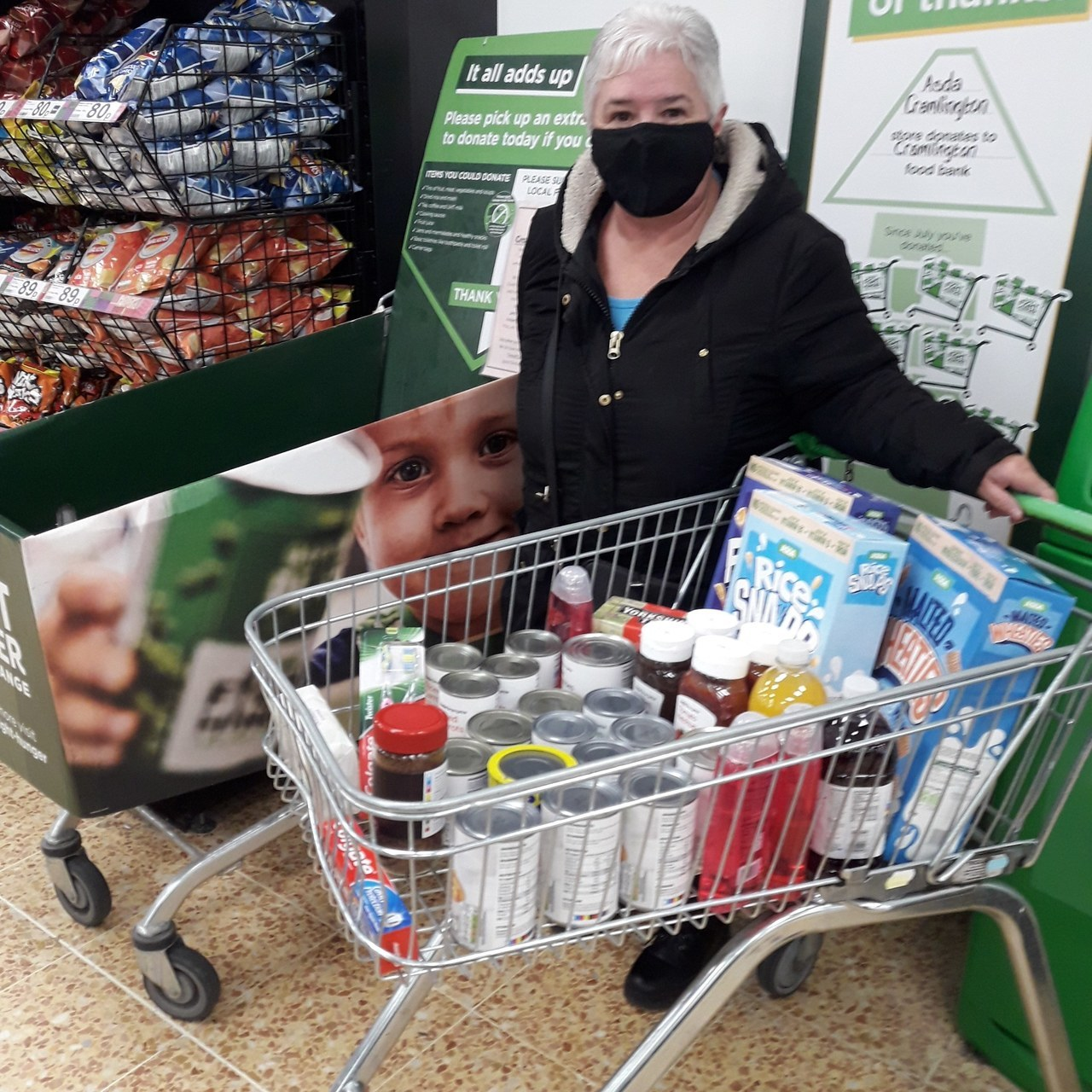 Gill spends lottery winnings on food for Cramlington Foodbank | Asda Cramlington