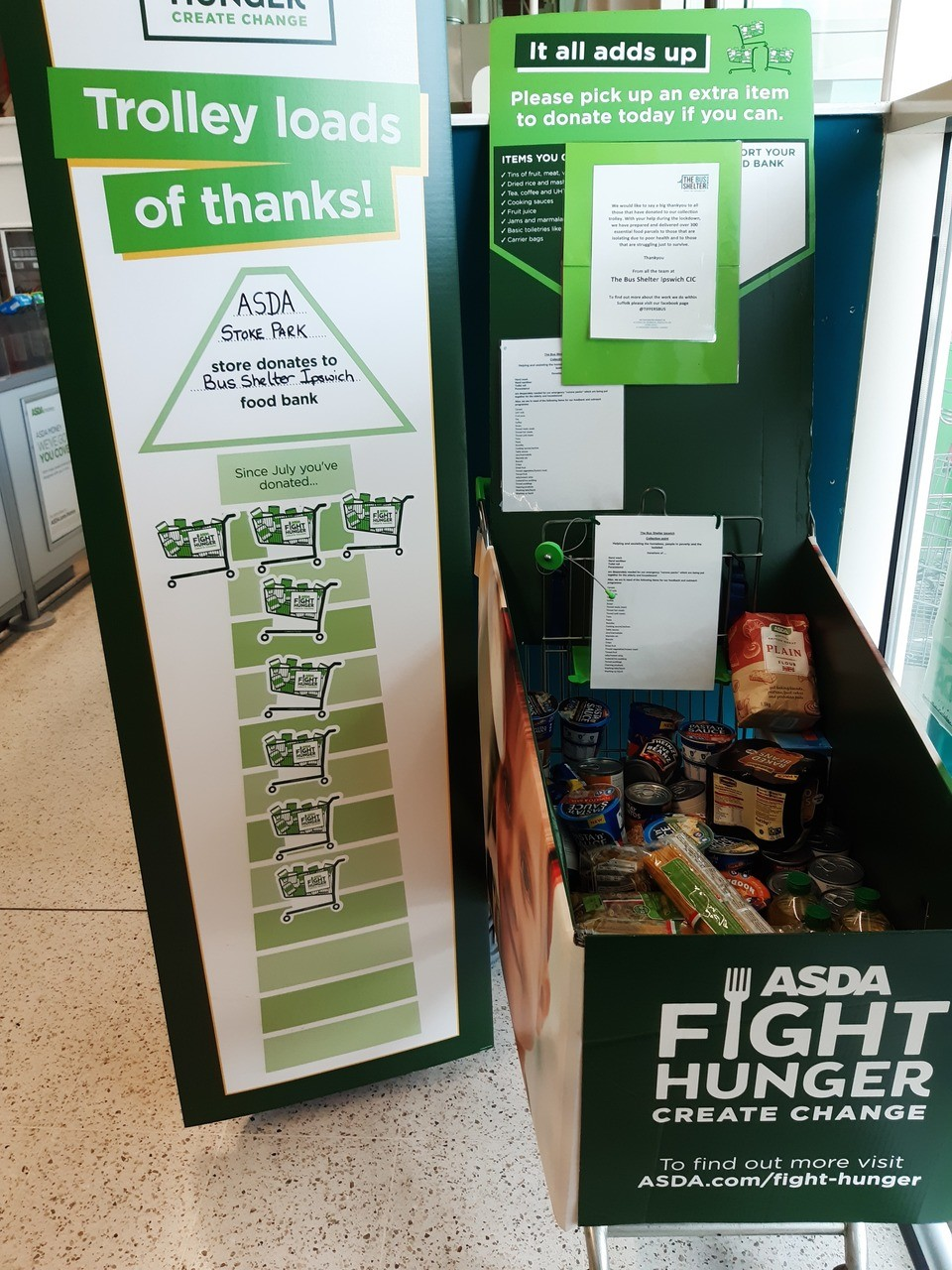 Fight Hunger donation to The Bus Shelter Ipswich | Asda Ipswich Stoke Park
