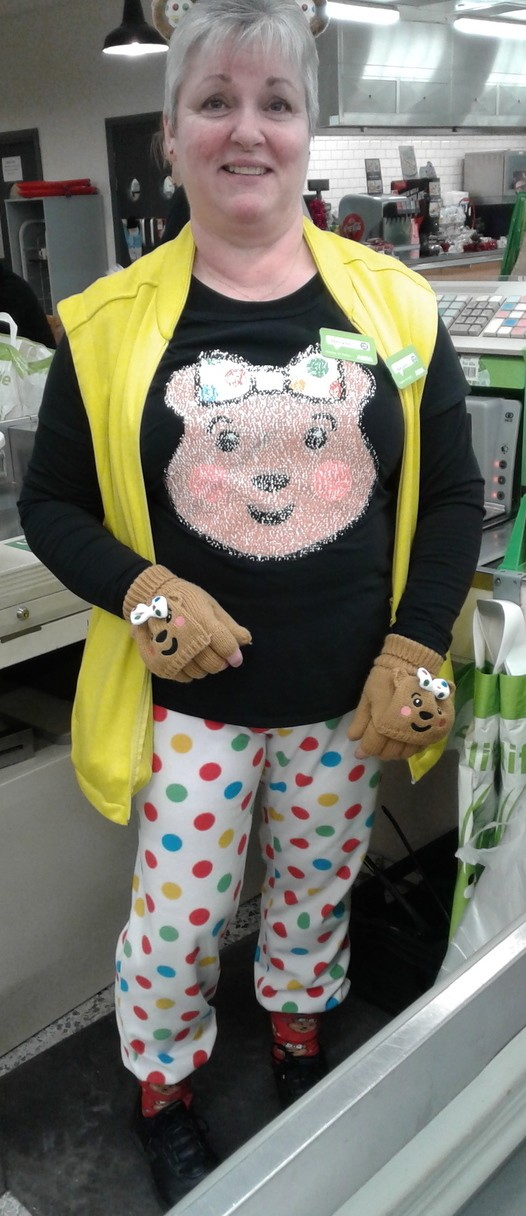 Asda Carlisle colleague Neiliann Robinson supporting BBC Children in Need
