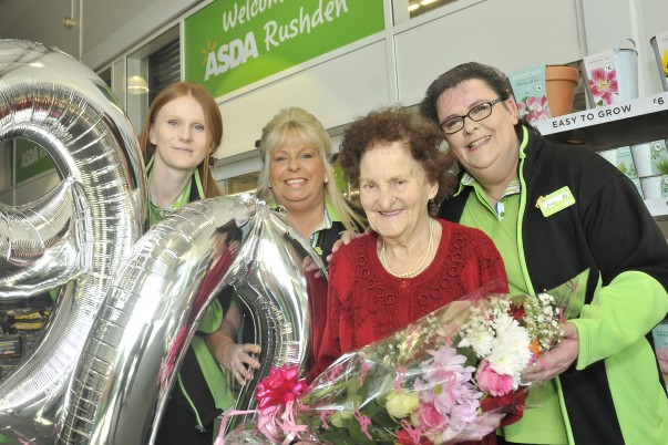 Asda Rushden customer Olive Lovell with colleagues