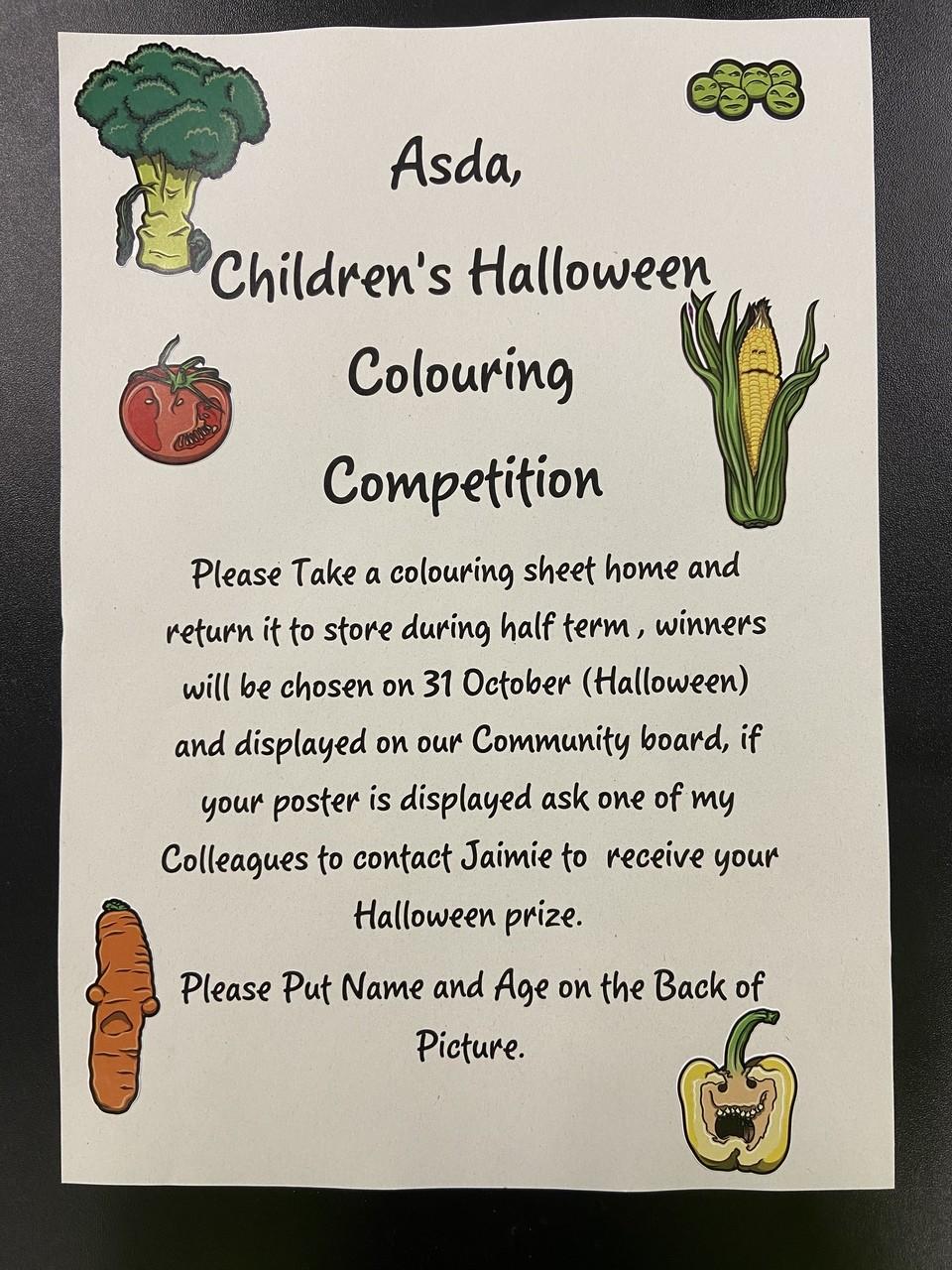 Halloween colouring competition   Asda Biggleswade