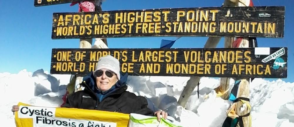 Asda Falmouth colleague Sue Beale at the summit of Kilimanjaro