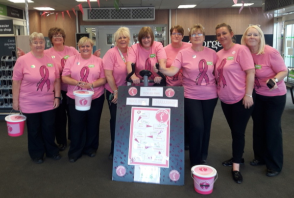 Colleagues at Asda Cramlington support the Tickled Pink breast cancer charity campaign