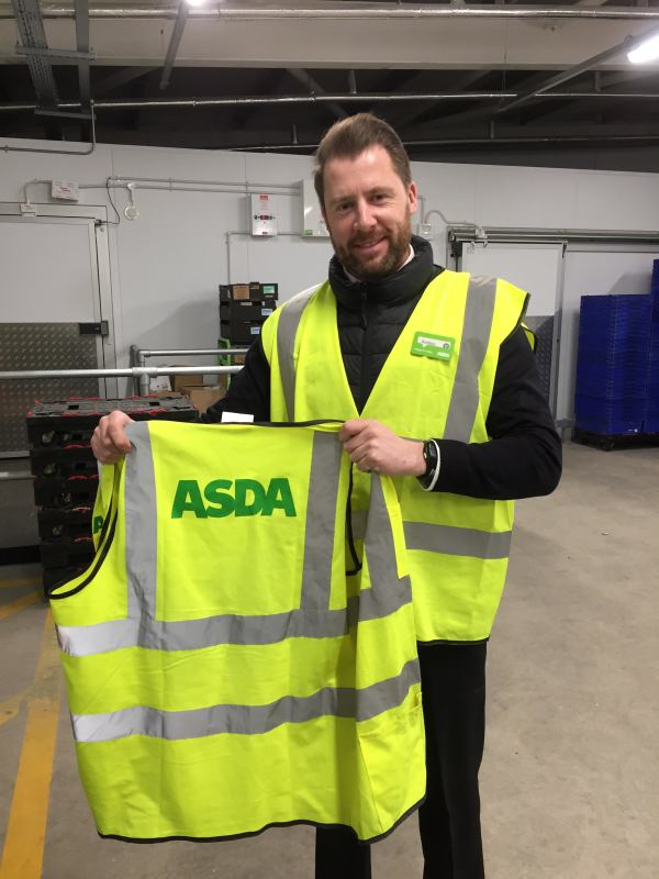 Elgin City FC Academy Development manager Robbie Hope in Asda Home Shopping uniform