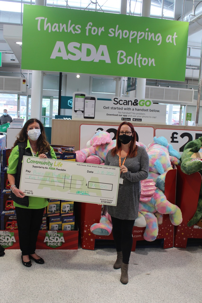 Asda Foundation donation to the Backup North West charity | Asda Bolton