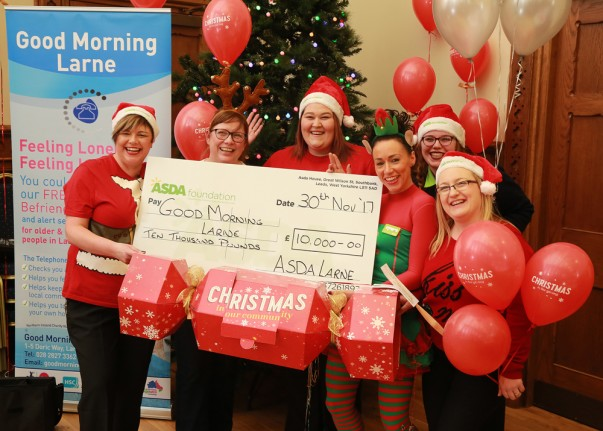 Asda Larne Christmas cheque for Good Morning Larne
