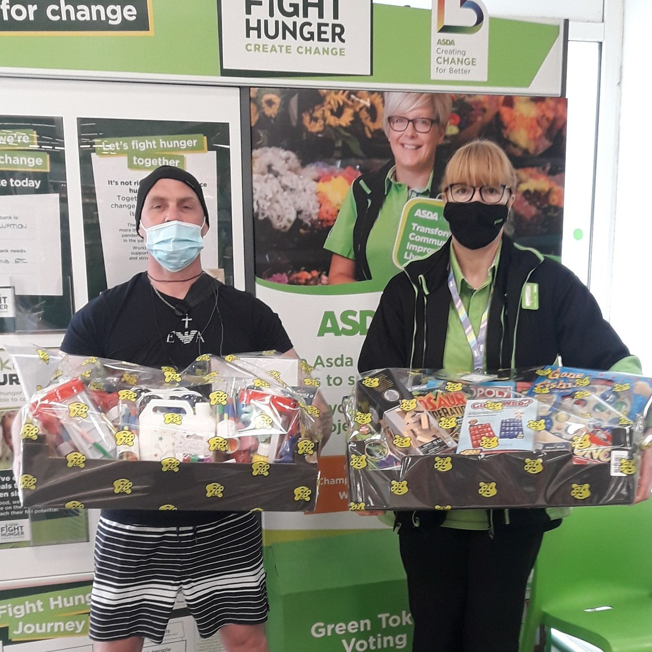 New group to our community called Qclub supporting youths in the area receiving a donation of board games and crat products | Asda Colne