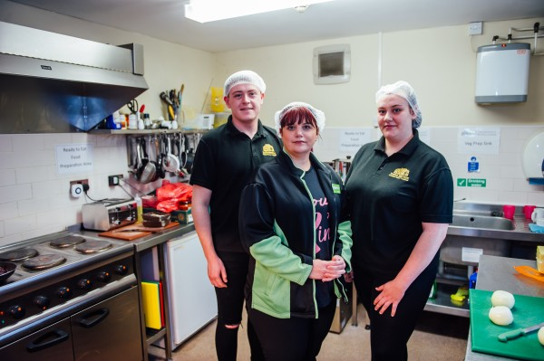 Asda Blackwood community champion Lucie helps to prepare meals for Storm Dennis flood victims