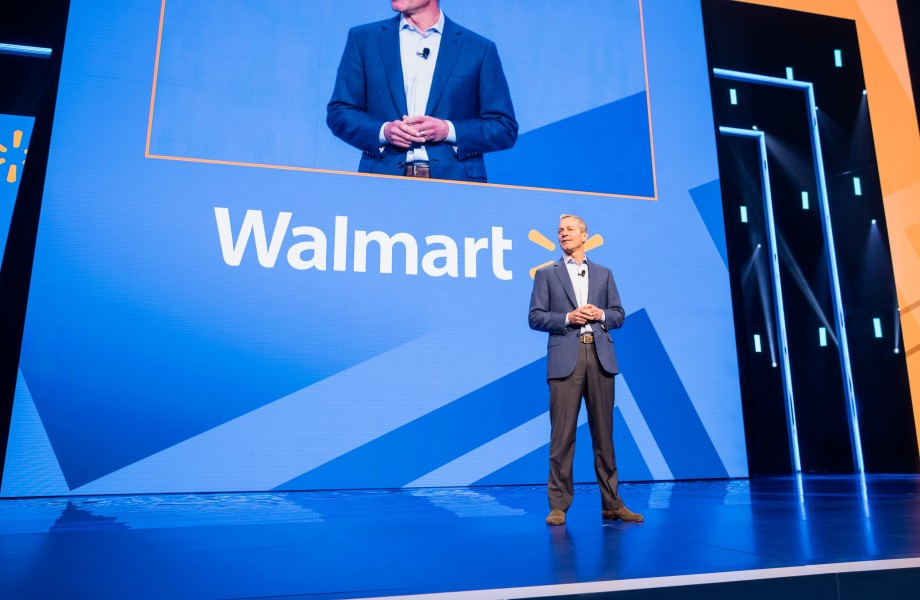 Greg Penner, Chairman of the Walmart Board of Directors, speaks at the Walmart Associate Meeting during Shareholders 2018