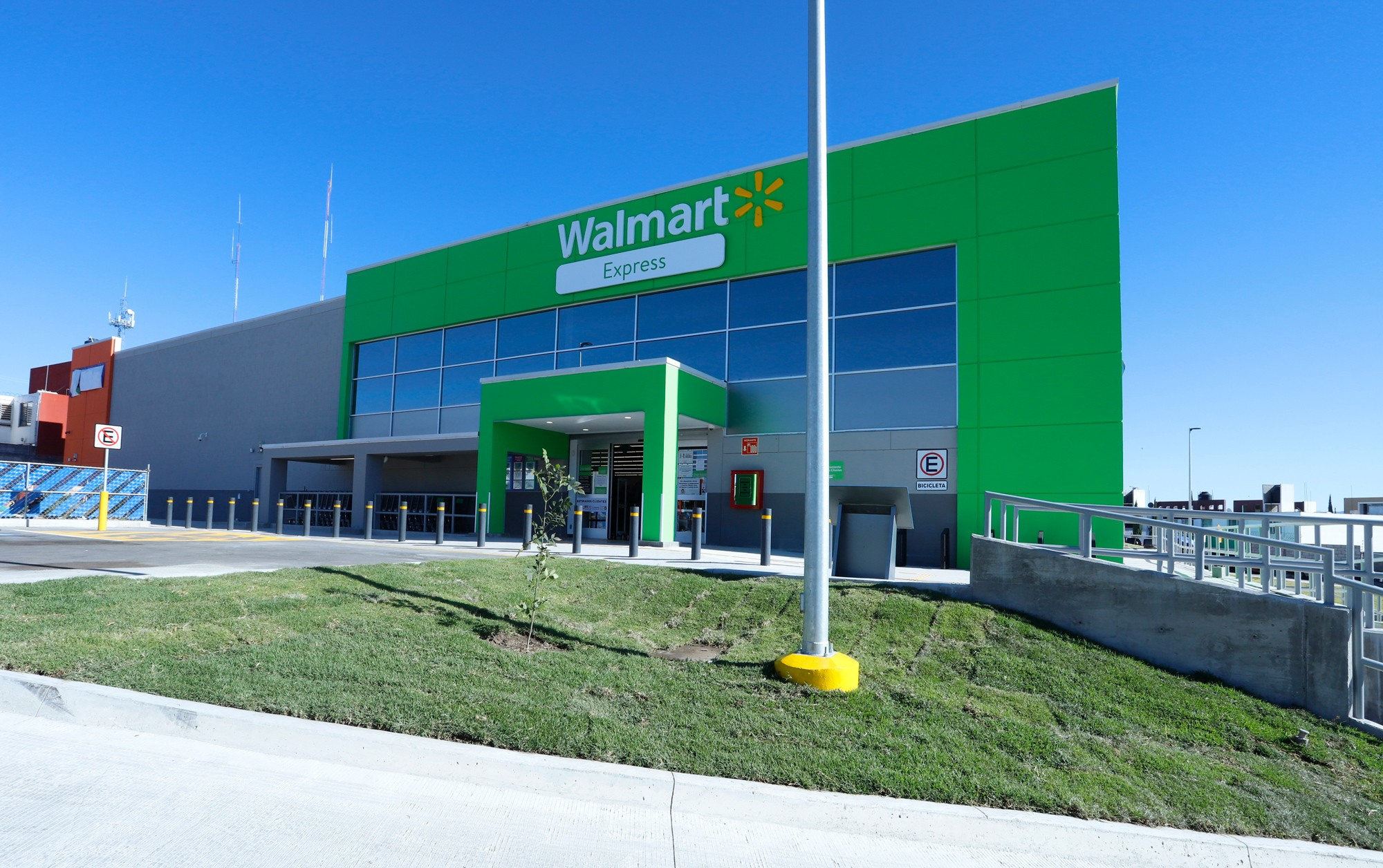 The exterior of a Walmart Express in Mexico