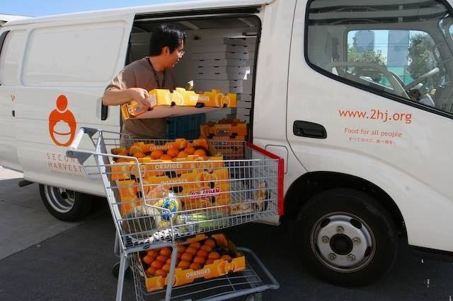 Man Loading Produce into van for Second Harvest Japan