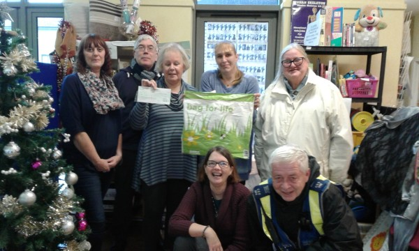 Christmas grant to Crafty Folk Club at Windhill Community Centre from Mandy Godfrey at Asda Shipley