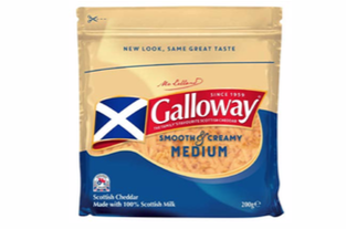 Galloway Grated Medium Coloured Cheddar 200g