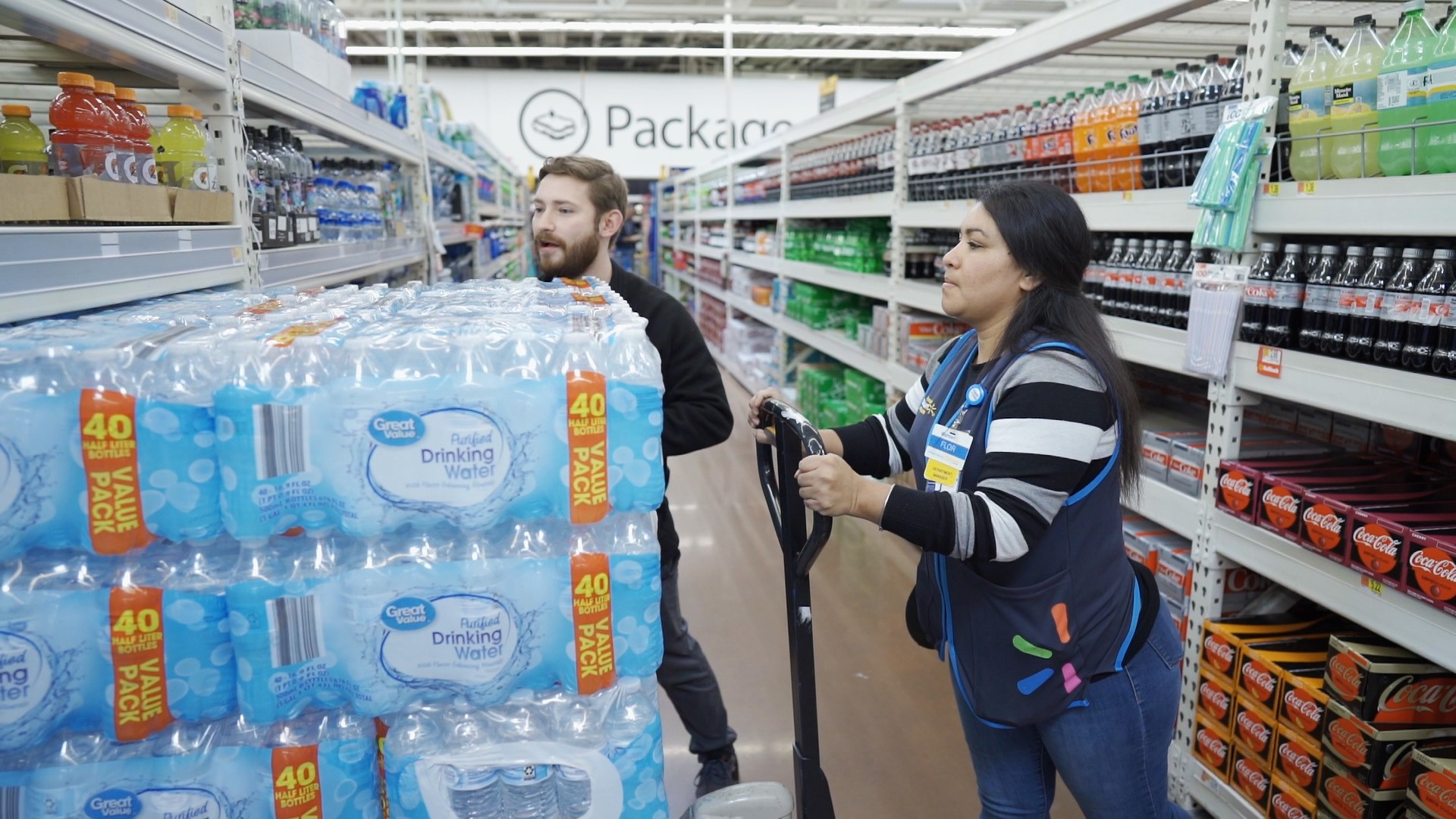 Walmart Associates Stocking Water
