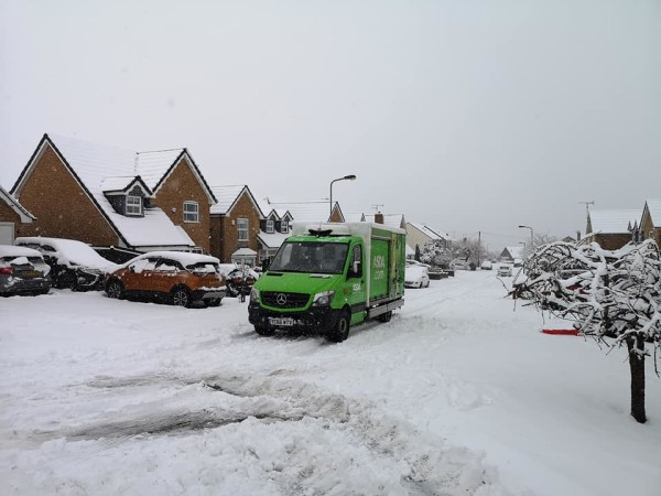 Asda Keighley delivery driver Paul Coates defied the snow to deliver to a farm