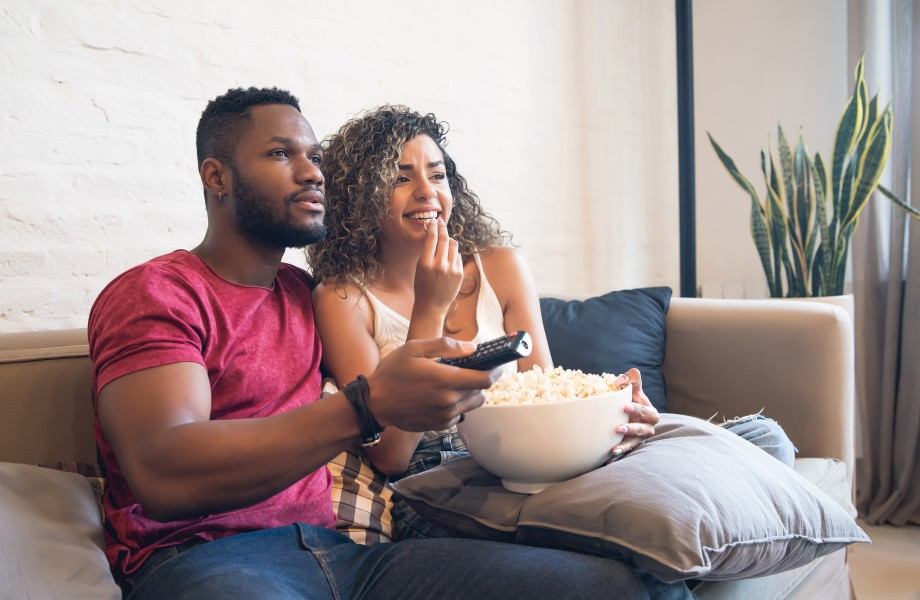 Young couple spending good time together at home